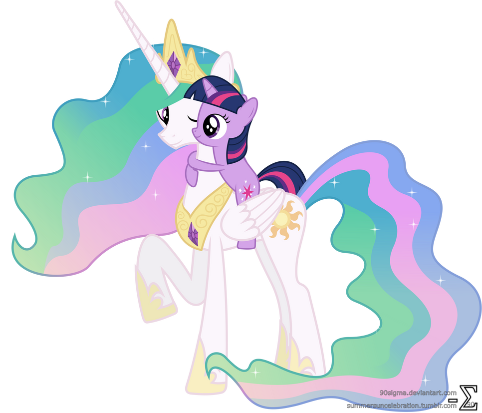 Princess Celestia and Twilight Sparkle Hugging (3)