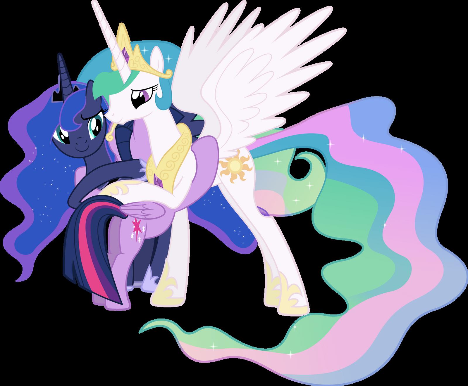 Princesses Celestia Luna And Twilight Hugging By 90Sigma