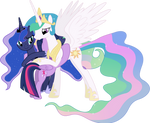 Princesses Celestia, Luna and Twilight Hugging