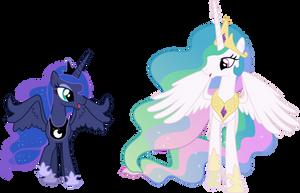 Happy Princess Celestia and Princess Luna by 90Sigma