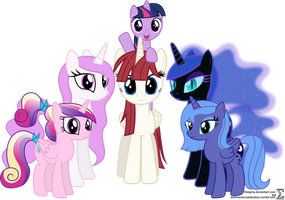 Alicorn Family Photo (Filly Version) by 90Sigma