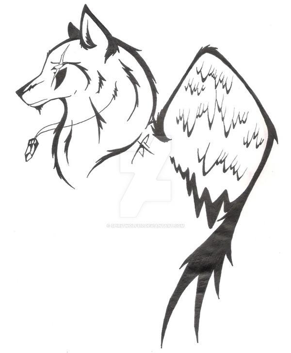 Angel wolf tattoo