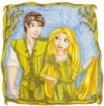 Rapunzel-n-Flynn Rider in Gold