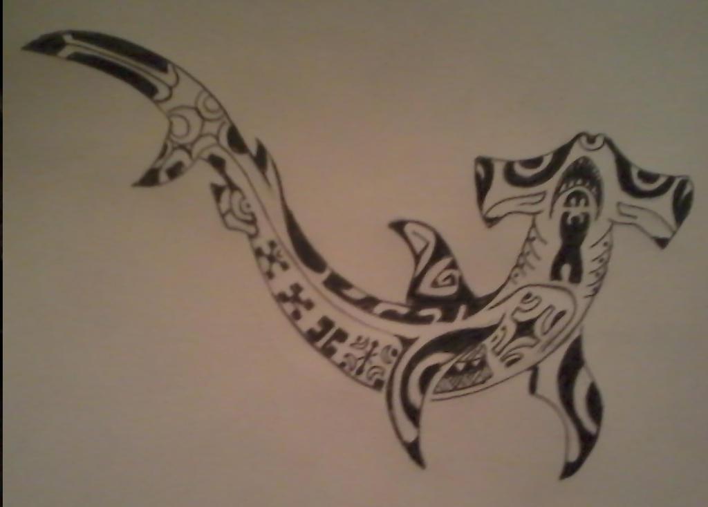 Tribal shark drawing