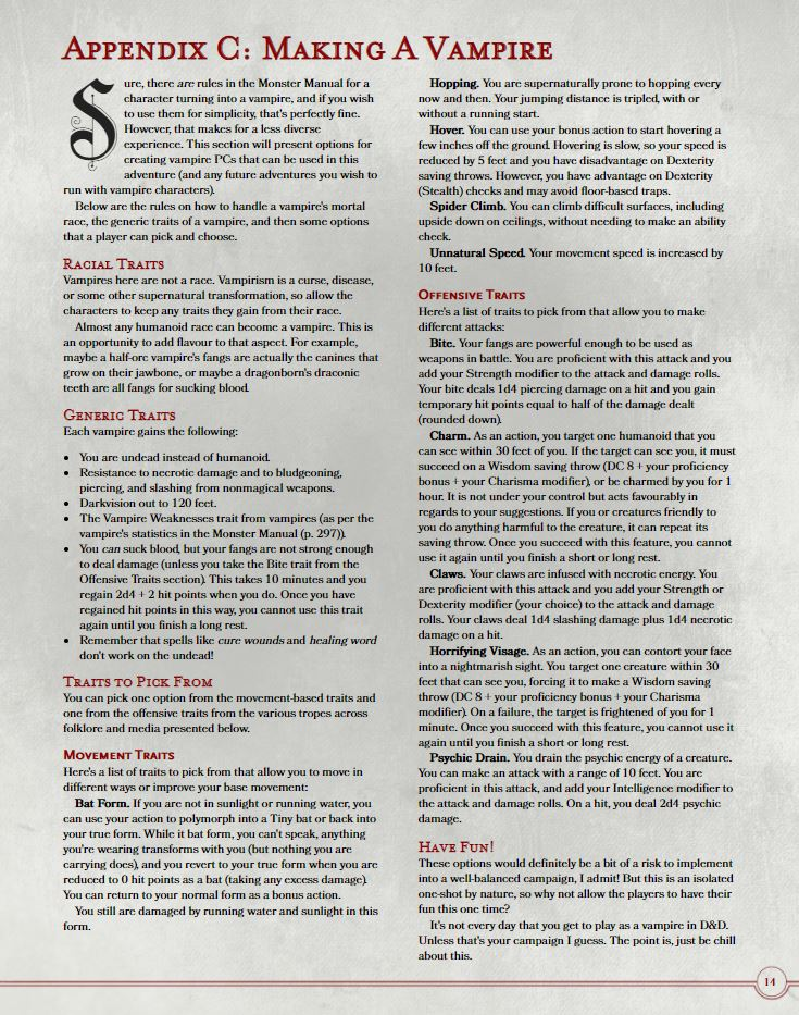 Rules to make a vampire with