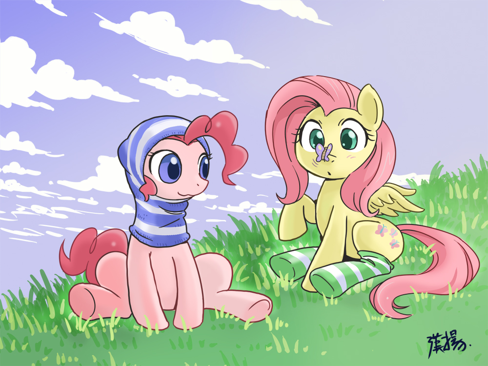 Challenge Fluttershy_and_pinkie_pie_striped_by_shepherd0821-d55c2q3