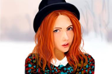 redhead girl training