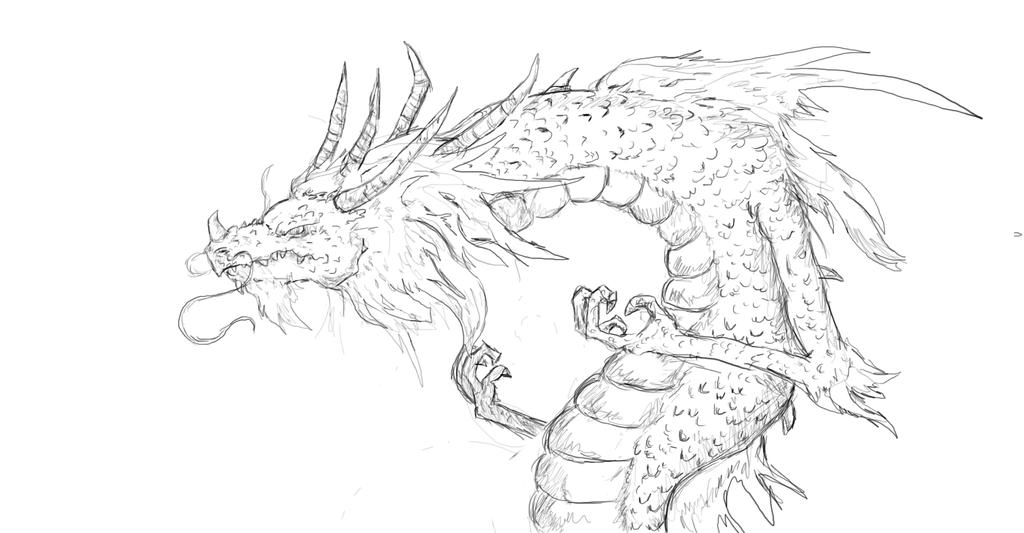 chinese dragon sketch by s3322547