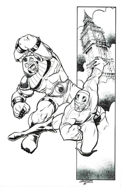 Captain Britain and Juggernaut by wjgrapes