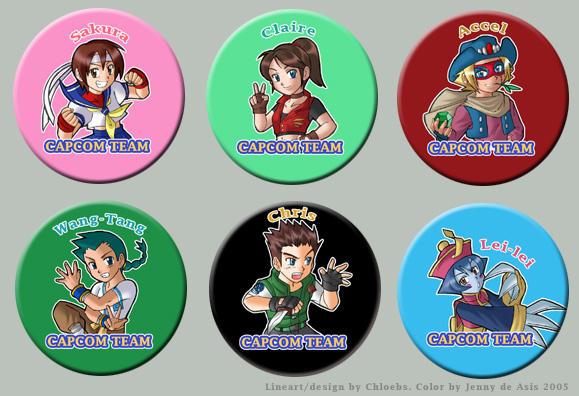 Capcom Team Pins Set 1 by chloebs