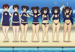 Beach day babes (Kisekae tg transformation)
