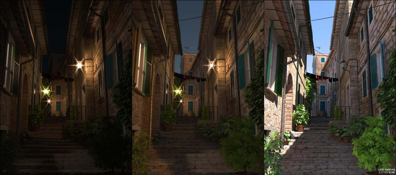 Narrow street -day 'n' night by Linolafett