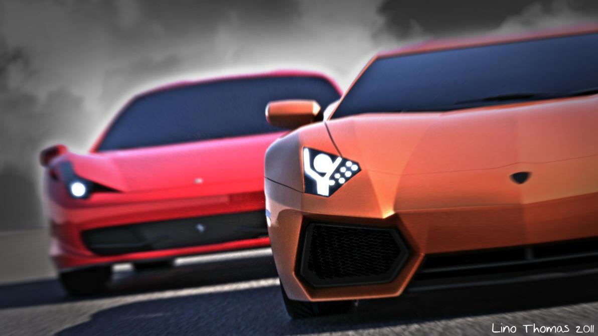 Lamborghini and Ferrari by Linolafett