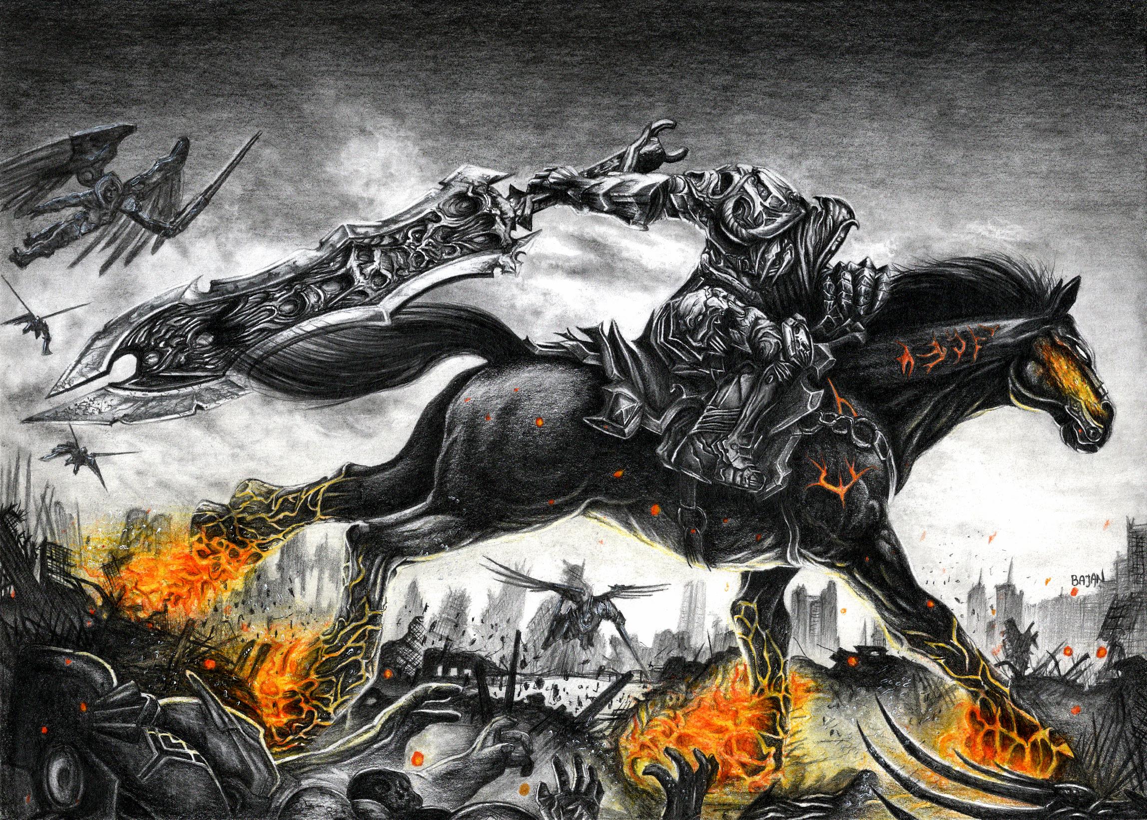 Darksiders War Drawing by Bajan-Art on DeviantArt