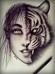 Women Tiger drawing