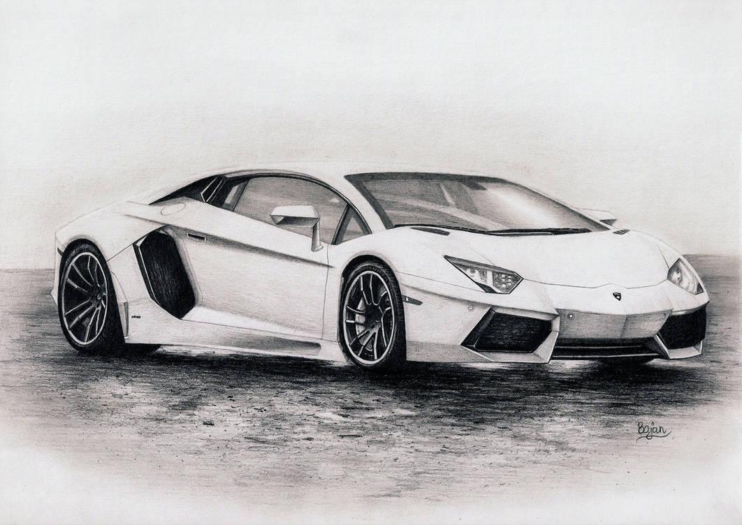Lamborghini aventador drawing by bajan art