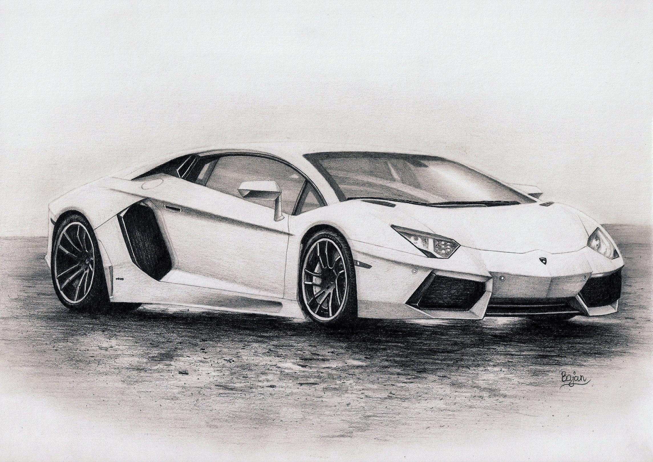 lamborghini aventador drawing by bajanoski on deviantart - Lamborghini Black And White Drawing