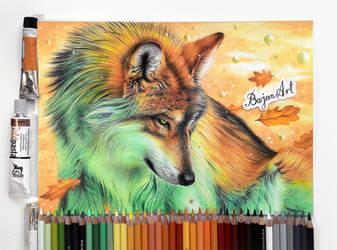 Wolf fantasy drawing by Bajan-Art