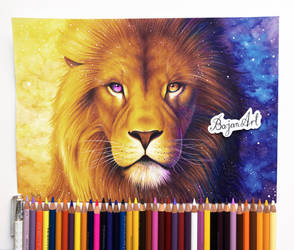 Guardian of the Sun lion drawing by Bajan-Art