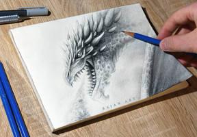 Dragon Breathing Fire Sketch by Bajan-Art