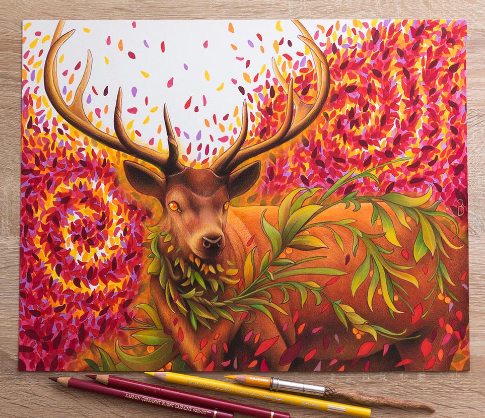 Fantasy Deer Drawing by Bajan-Art