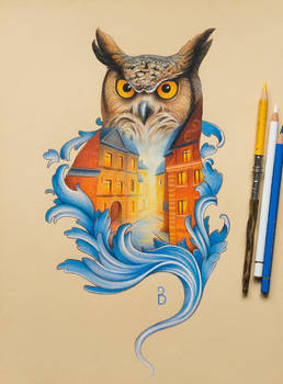 Owl drawing in double exposure