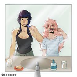 Gaytober Day 6: Brushing teeth together by amumaju