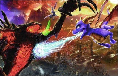 Spyro,Cynder and Golem by GloriusDragonLover
