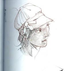 female face sketch, fold by PArk68k