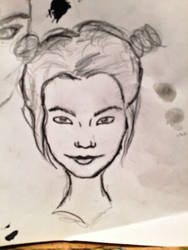 one of the sketches for Bjork painting by MaryAquarius