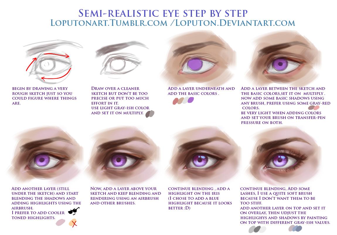 Semi Realistic Eye Tutorial By Loputon On Deviantart
