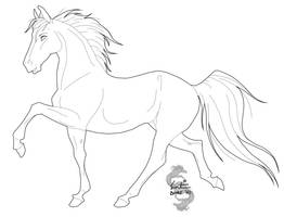 Free mare lineart 2 by green-ermine