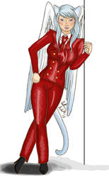 Commission: Bright Red Suit by Elvan-Lady