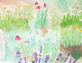 Commission: Watercolor garden by Elvan-Lady