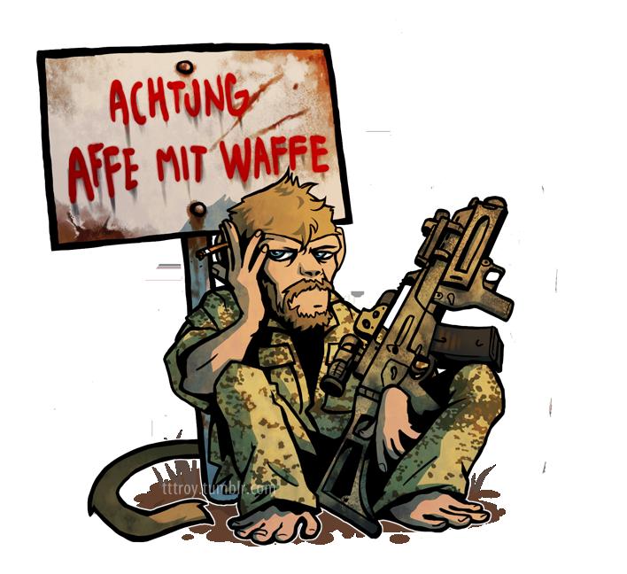 Affe mit Waffe Männer TShirt  Spreadshirt
