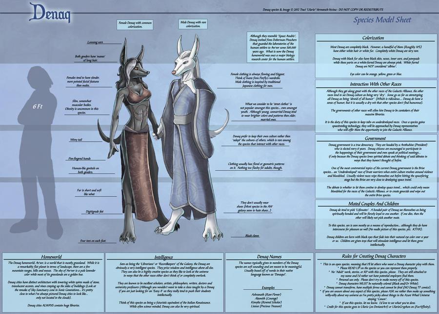 Denaq - Species Model Sheet by Ulario