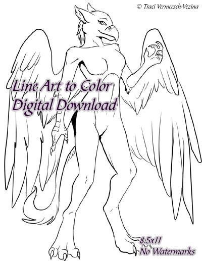 GryphonessLineart - Premium Digital Download