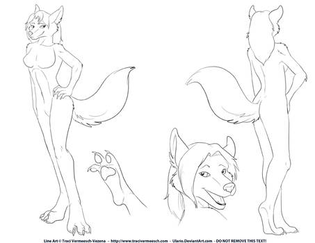 Canine Girl Line Art - Free for you to color!