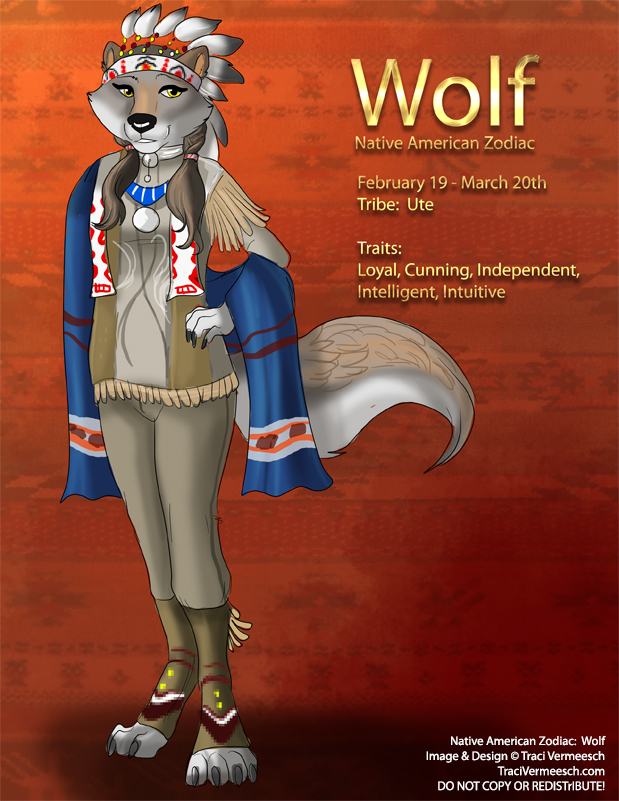 [Character Design] Native American Zodiac:  Wolf by Ulario