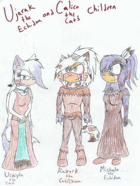 Ujarak and calico's children by Mighty-C-amurai