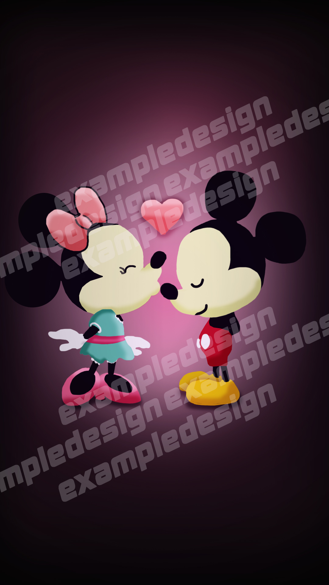 Minnie and Mickey Mouse Free Draw Iphone bg by exampledesign