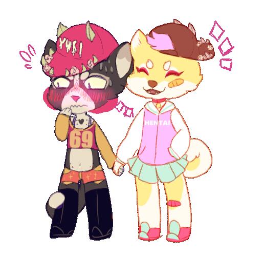 yuri cat and hentai inu by irlnya