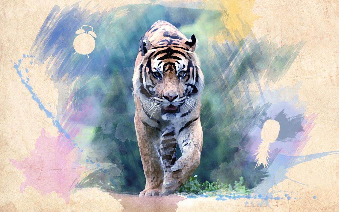 Aquarel tiger by UVSoft