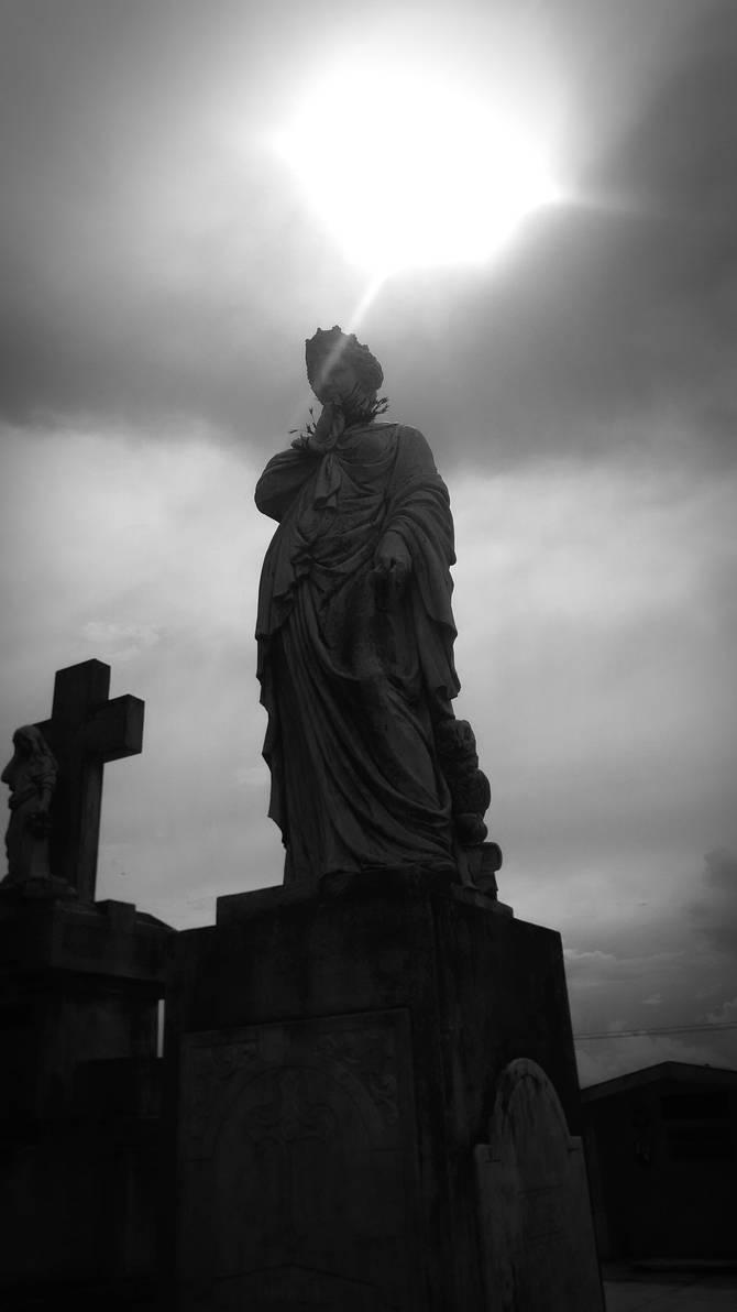 light black and white statue
