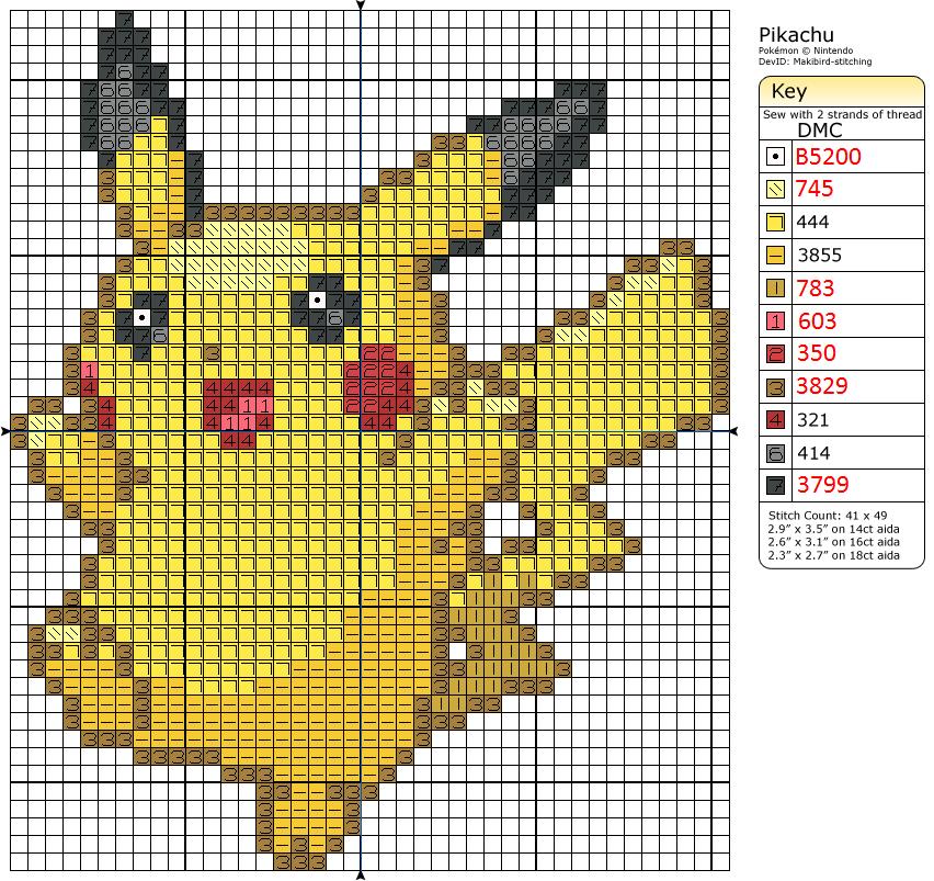 Pikachu Cross-Stitch Pattern by saber4734