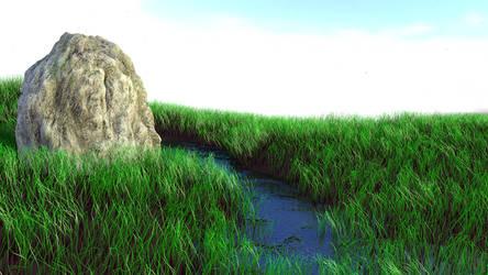 Grassy Landscape River by Seri0us1y