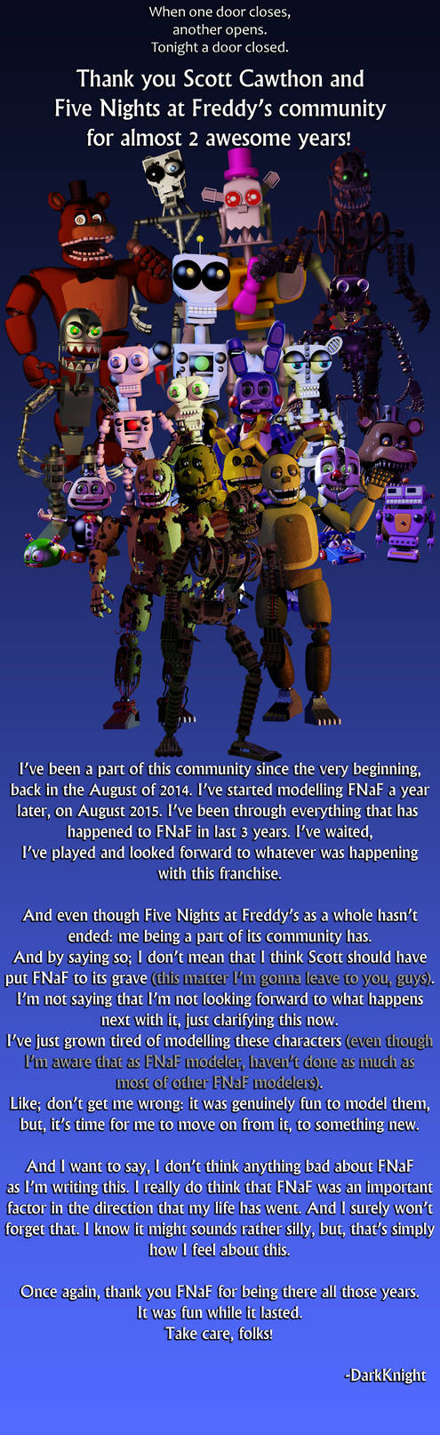 Thank You Five Nights at Freddy's!