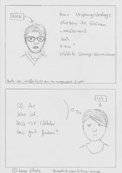Karikatur AKK zu den Gruenen