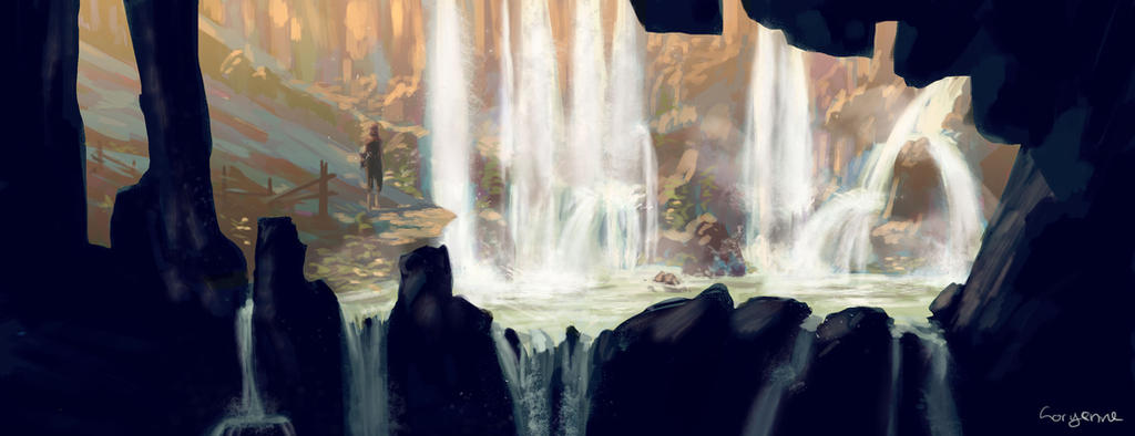 waterfall by Levest