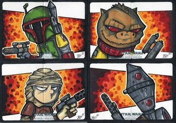 Empire Strikes Back Illustrated - Bounty Hunters! by briandeguireart
